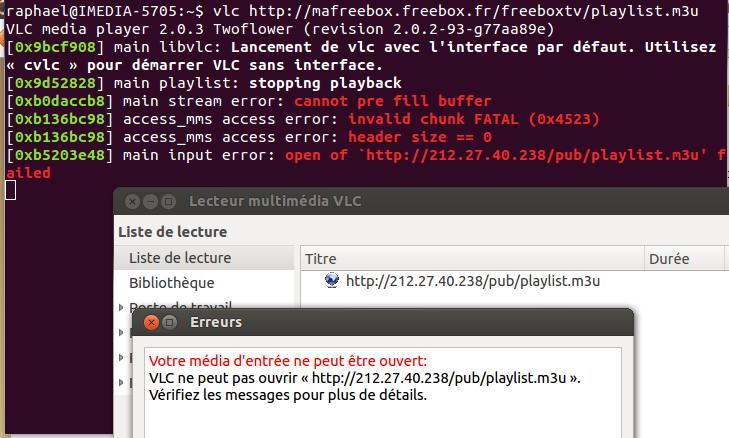 Message d'erreur VLC